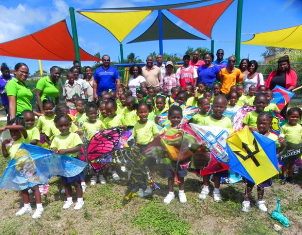 "Students of the Maria Holder Nursery School display their kites, during the recent ""Come Fly A Kite"" pre-Easter event held at the school."