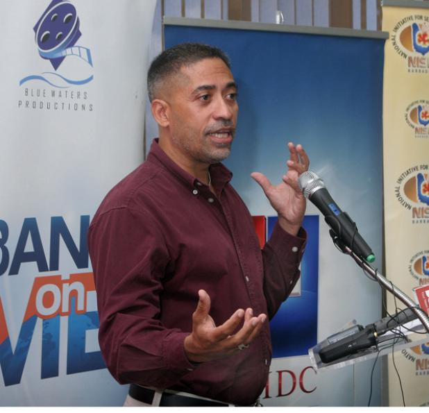Alan Emtage, Chief Technical Officer, Mediapolis and the Barbadian who developed the first search engine speaking at the Cave Hill School of Business.