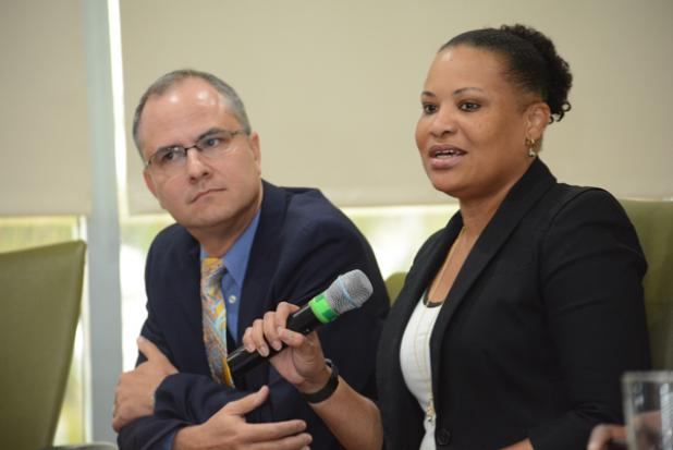 Donna Wellington (right) and Greg McConnie, at the news conference.