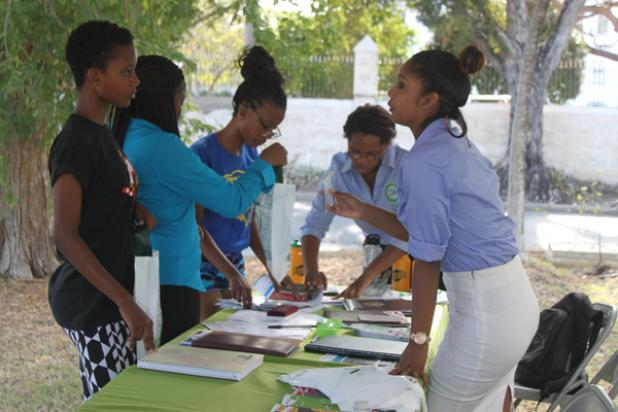 Some prospective students visiting the booths during University of the Southern Caribbean (Barbados) Open Day recently at the Campus' Belleville, St. Michael location.