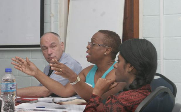 Professor of Food Science & Technology Gerrit Meerdink; Karen Camejo – Senior Research Technician; and Sian Ramdass – Research Assistant speaking during a recent FAO Cassava Workshop, held at the Ministry of Agriculture, Food, Fisheries and Water Resources Management.