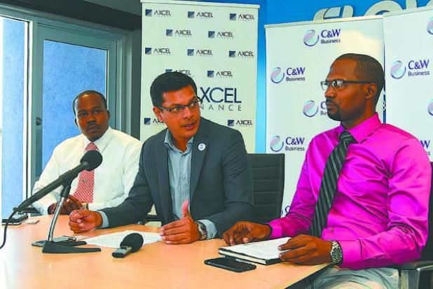FROM LEFT: Davidson Ishmael, Operations Manager of Axel Finance; Jaggernauth Dass, Vice President, Cable & Wireless Business; and Selwyn Cambridge,  Co-Founder of The Entrepreneurial Network (TEN) at the CWB and Ten Launch 1st Caribbean Start-Up Summit.