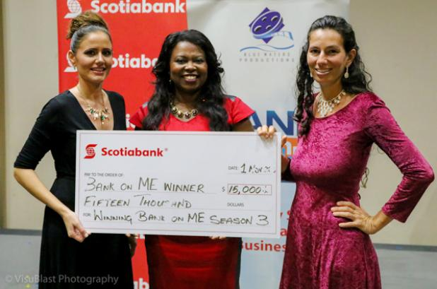 Sharon Small, Marketing Manager, Scotiabank East and Judge (centre) with Amanda McKenzie (left) and business partner Connie Inniss of Grow It!.