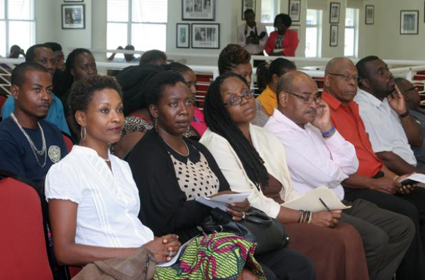 CEO of the National Cultural Foundation Cranston Browne (third from right), Chief Cultural Officer at the National Cultural Foundation (NCF), Andrea Wells (third from left) and other key officials involved in the Youth Achieving Results Programme, attended the launch held at the 3Ws Oval.
