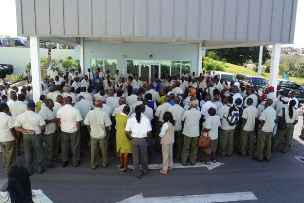 Staff at the Barbados Water Authority gathered to hear the outcome of last Thursday's meeting.