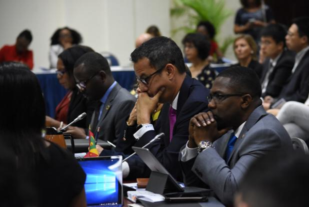 A section of CARICOM Foreign Ministers gathered for the 20th Meeting of the Council for Foreign and Community Relations. INSET: Secretary-general of the Caribbean Community (CARICOM), Ambassador Irwin Larocque.