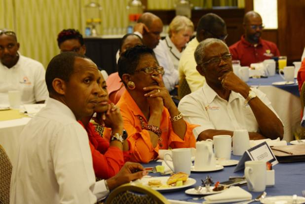 """Some of the business owners and professionals during the panel discussion entitled """"The Role of The Private Sector in Managing Disaster"""", which was hosted by the Barbados Chamber of Commerce and Industry (BCCI), at the Hilton Resort yesterday. INSET: Former Director of Emergency Services, Clive Lorde."""
