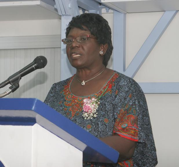 Honorary Member and Past President of the Barbados Nurses' Association (BNA), Dr. Marion Howard, addressing the 20th Eunice Gibson Memorial Lecture recently, at the L. V. Harcourt Lewis Training Centre of the Barbados Public Workers Co-operative Credit Union Limited.