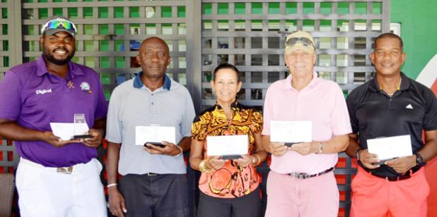 Winners in the Courtesy Garage March medal golf tournament.From left: Maurice Forde, Andy Dickson, Lynn deCambra-Mcleod, Yogi Lehtinen and Trevor Tasker.