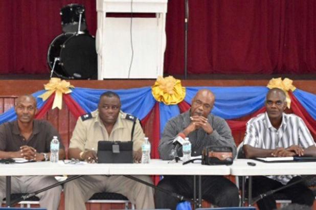 From left: Assistant Superintendent, Richard Boyce; Divisional Commander of the Northern Division, Superintendent, Bruce Rowe; Senior Superintendent of Police, Eucklyn Thompson; and Station Sergeant District 'F' Police Station, Jonathan Seale, during the Town Hall meeting held at Alleyne School.