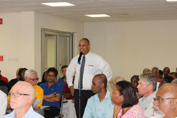 President of the Barbados Manufacturers' Association (BMA), Jason Sambrano, making a point during the meeting.