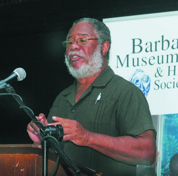 Professor Pedro Welch delivering the Barbados Museum and Historical Society 2016 Lecture Series.