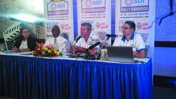 Chairman of SOL Rally Barbados, Mark Hamilton, giving an overview of the SOL RB16. From left: Head of Marketing for FLOW, Shelly-Ann Hee Chung; Ezra Prescod, Country Manager of SOL (Barbados) Ltd.; Mark Hamilton and Neil Bernard, SOL RB16 Event Director.