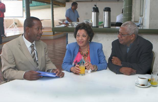 From left: Executive Director of the TVET Council (Barbados) Henderson Eastmond; Executive Director of the Barbados Manufacturers' Association (BMA), Bobbi McKay; and Chairman of the TVET Council, Dr Hensley Sobers, during the media launch of The WorldSkills Barbados Competition 2016, yesterday.
