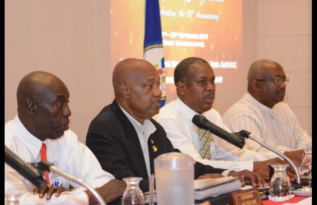 The Business Session of the 11th Biennial Delegates' Conference of the Congress of Trade Unions and Staff Associations (CTUSAB) was held at Savannah Beach hotel yesterday. From left: CTUSAB General Secretary Dennis de Peiza; President, Cedric Murrell; 1st Vice-President, Pedro Shepherd; and 3rd Vice-President, Grantley Greene.