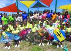 """Students of the Maria Holder Nursery School display their kites, during the recent """"Come Fly A Kite"""" pre-Easter event held at the school."""
