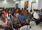 The 2016 Scholarship and Exhibition awardees and their parents during a meeting held at the Ministry of Education's headquarters yesterday.