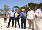 Chairman of Sandals Resorts International, Gordon 'Butch' Stewart (centre) had the full attention of Minister of Tourism and International Transport, Richard Sealy (second from right); and Minister of Health and Member of Parliament for Christ Church South, John Boyce (right), after the groundbreaking ceremony for the Sandals expansion project. Also pictured on site is Terence Des Vignes (left), Senior Project Manager for Sandals Resorts International, and CEO of Sandals Resorts International, Adam Stewart.