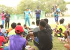 The young players listening intently to David Wiese and Shamar Springer as they share words of wisdom on the game during yesterday's session at the Cric-mechanics Camp at Wanderers.