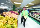 Managing Director of Massy Stores (Barbados), Randall Banfield, took a walk through the produce aisle to ensure everything was ready for the opening.