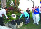 Parliamentary Secretary in the Ministry of Tourism and International Transport, Senator Irene Sandiford-Garner (left) and Christine Blakeley unveiling the plaque stationed in Andrea's Terrace.