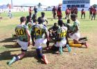 The Barbados JetBlues regrouping after a massive win in their last game of the tournament.