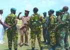 Chief of Staff of the BDF Colonel Alvin Quintyne as he reviewed the Section Battle Drill done by this outfit.